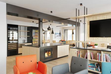 Frühstücksbereich und Lobby mit Kaminfeuer | Alpin - Studios & Suites